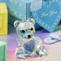 Crystal Teddy Bear With Blue Heart